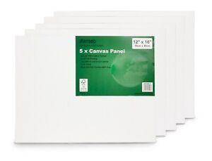 "Artgeo 30cm x 40cm (12"" x 16"") 3mm FSC Canvas Panel, Pack of 5"
