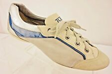 TOD'S Casual Sneakers Women's 6.5 M Tan Suede Leather Silver & Blue Accents