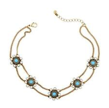 Pearl Flowers Statement Choker Necklace Double Chain Vintage Gold Women Bijoux