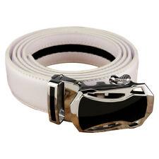 Men's White Leather One-Belt, Black & Steel Buckle, Ratchet Mechanism Tight Fit.