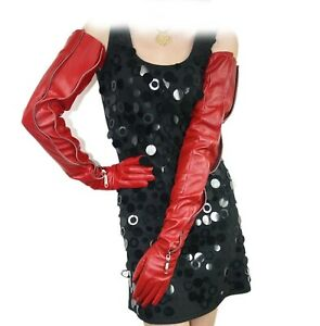 """women 70cm(27.6"""") long mid invisible zipper real leather opera gloves red"""