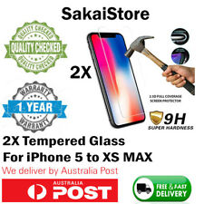 2x Tempered Glass Screen Protector Guard For iPhone X XS MAX XR 8 7 6 5 6S Plus