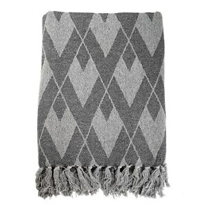 100% Recycled Cotton Blend Geometric Design Throw 130 x170cm FREE DELIVERY*