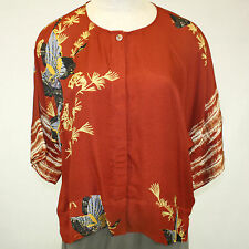 NEW NWT Citron Clothing Fall Winter Plus Size 100% Silk Butterflies Blouse 1X
