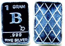 LETTER B .999 PURE DMPL SILVER PROOF GEM BU BULLION ALPHABIT 1 GRAM 999 BAR#412
