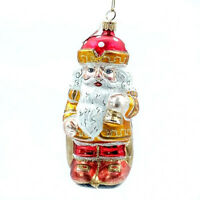 Christmas Ornament Santa Blown Glass Made in Italy Hand Painted Sparkly Glitter