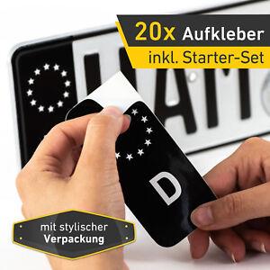 20x Kennzeichen Nummernschild Aufkleber, EU Feld Schwarz, inkl. 10x Starter-Set