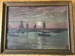 Untiled Marine/Boat Scene; Original Oil on Board, Pierre-Georges Jeanniot 1919