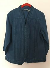 Women's  Chico's, Size 1 Blue Fall  Detailed Stylish Chic Jacket Top New