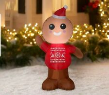 GINGERBREAD MAN Airblown Inflatable 4 FOOT Tall Christmas Yard Decoration Gemmy