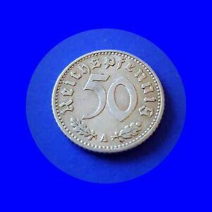 🍀Deutschland Germany Third Reich 50 Reichspfennig 1935 A  AB537Vv.KM 87