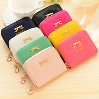 Fashion Women Bowknot Purse Zip Small Mini Clutch Wallet Card Holder Coin Bag