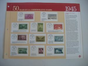 """1945 U.S. Postage Stamps """"50 Years of US Commemorative Stamps 1945"""""""