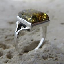 Size 9 3/4, Size T, Size 61, Green BALTIC AMBER Ring, 925 STERLING SILVER #1652