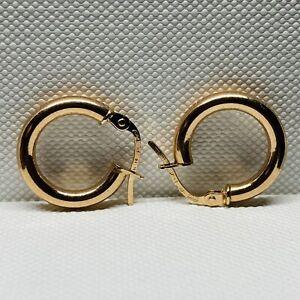 Genuine Solid 9ct ROSE Gold PLAIN Creole Huggie Hoop Earrings - 10mm - NEW