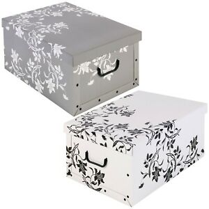 2 4 Underbed Collapsible Storage Boxes Cardboard With Lids & Handles Lightweight
