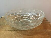 """Vtg Mid Century Clear Pressed Glass Thumbprint Honeycomb Serving Bowl 9 1/4"""""""