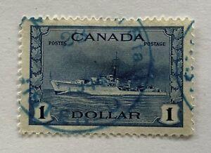 WW2 CANADA STAMP # 262 VF $1 CANADIAN NAVY DESTROYER