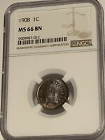 NGC MS-66 BN 1908 Indian Head Cent, Attractively toned specimen.