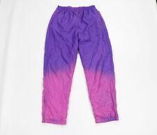 Vintage 90s Streetwear Mens Medium Custom Faded Lined Nylon Joggers Pants Purple