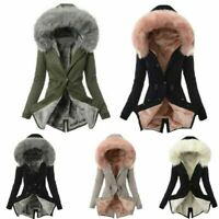 Women Faux Fur Lining Hooded Coat Winter Warm Thick Plush Long Jacket Overcoat