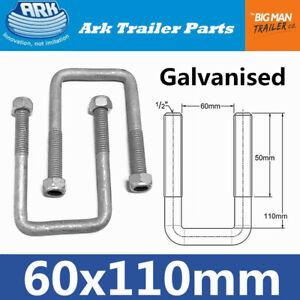 2x ARK Trailer U Bolts Galvanised 60mm x 110mm arm long Square U-bolt mrub3g SB