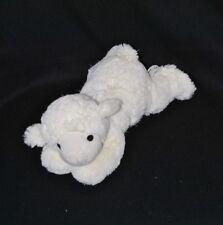 Peluche doudou mouton couché ELUZ blanc 30 cm allongé TTBE