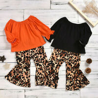 2PCS Toddler Baby Girl Kid Ruffle Long Sleeve Top Leopard Flare Pants Outfit Set