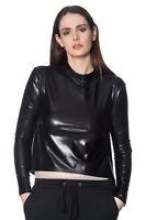 Minimal Goth Turtle Neck Gothic Emo Rockabilly PVC Crop Top Shirt Banned Apparel