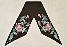 SCARF VINTAGE AUTHENTIC JACQMAR OF LONDON FLORAL ART BLACK GREEN SILK LONG MEN'S