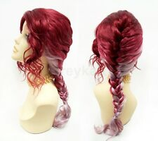 """Wine Red & Light Pink/Purple French Braid Wig Heat Resistant Costume Cosplay 20"""""""