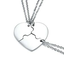 Stainless Steel 3-Piece Puzzle Heart Friendship Pendant & Necklace Set