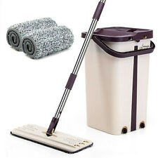 360° FLAT FLOOR MOP & BUCKET SET MICROFIBER MOP HEADS DRY WATER CLEANER CLEANING