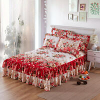 Brushed Cotton Flowers Thick Queen Ruffled Bed Skirts King Quilted Pillow Cases