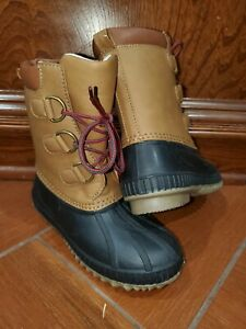 GAP Baby Toddler Boys 12/ 13- 3M Brown Thinsulate Waterproof Duck Snow Boots NWT