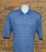 Oxford Golf Mens Polo Shirt Size L Large Blue White Striped Short Sleeve Cotton