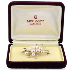 Authentic Vintage Mikimoto Estate Multi Pearl Sterling Silver Brooch Pin & Box