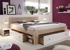 Bettanlage Bett Set Stefan Nachttisch Schubkasten Sonoma Eiche weiß 180x200