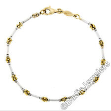 "Italian 14K White & Yellow Gold 6.75"" Ball Cluster & Cylinder Bar Link Bracelet"