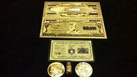 GOLD$100,000 REP.BANKNOTE& GOLD COIN/GOLD FLAKE 1GRAIN SILVER BAR FREE SHIPPING