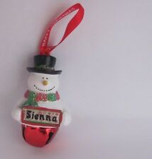 25403 SIENNA NAME FROSTY SNOWMAN COLOUR BELL CHRISTMAS TREE DECORATION GIFT