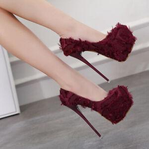 Womens Sexy Super High Slim Heels Platform Round Toe Tassel Stilettos Pumps Shoe