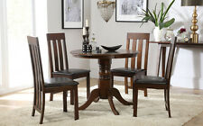 Kingston Round Dark Wood Dining Table & 4 Chester Chairs Set - Brown Seat Pad