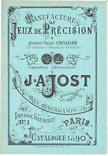 CATALOGUE de la maison J.A. JOST 1890 / jeu ancien