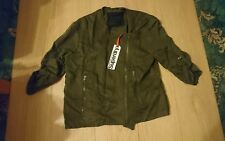 *JANUARY SALE*NEW WOMENS XL SIZE16 SUPERDRY COLLARLESS BIKER BOMBER JACKET KHAKI