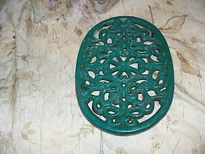 ANTIQUE CAST IRON? PLANT STAND- USED- NICE DESIGN AND COLOR- GREAT FOR GARDENS