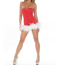 Sexy 2pc Mrs Claus Christmas Mini Tube Dress G-String Feather & Rhinestones 7185
