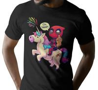 Deadpool tshirt  Riding a Unicorn Rainbow Cartoon unisex Tee badass merc movie 1
