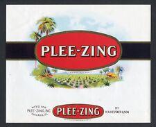 Old Original PLEE-ZING Cigar Label - H. N. HEUSNER & SON, CHICAGO, ILLINOIS