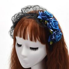 Lace Gothic Lolita Headpiece Blue Black Flower Headband Maid Cosplay Accessories
